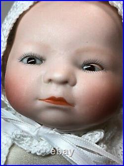 10 Antique German Bisque Head Cloth Body Bye Lo Celluloid Hands Bald Baby #Sc5