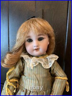 12 ANTIQUE BISQUE HEAD DOLL DEP RARE Shelf Size & ADORABLE! Original Dress