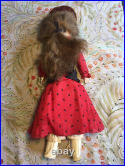 14 Antique German Bisque Turned Head Doll With Teeth & Human Hair