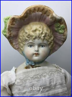 15 Antique Bisque German Made China Head Bonnet head Hertwig 1910-1920 Blonde#A