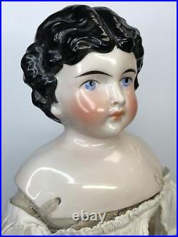 16.5 Antique German Bisque China Head Doll 189-5 Pink Luster Original Body #A