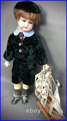 16 Simon & Halbig KR Child Doll Cabinet Size Antique Bisque-Head German Boy