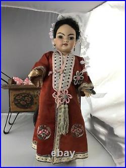 17 Antique German Bisque Head Doll S&H 1199 Asian