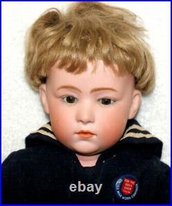 18 ANTIQUE GEBRUDER HEUBACH #6969 Bisque SAILOR BOY ORIG OUTFIT