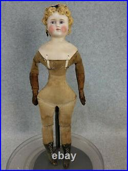 18 antique German round face bisque head Parian Lady Doll w molded hair bow TLC