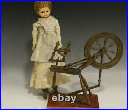 1850s Wax Head Doll with Great Earrings Salesman Spinning Wheel Selling Separately