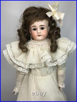 19 Antique German Kestner Bisque Doll Turned Head Leather Body Brown Eyes #L