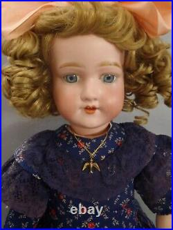 20 tall rare c1920 Morimura Dolly face bisque head doll in gorgeous dress