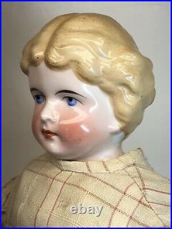 22 Antique German Bisque Kling 1870 China Head Beautiful Coloring Blonde #A