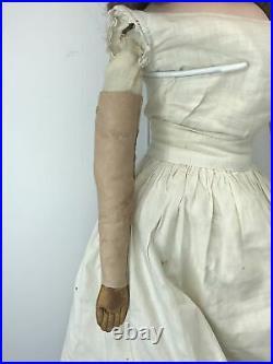 26 Antique German Kestner Bisque Doll CM Cloth Body Turned Head SL Eyes #L
