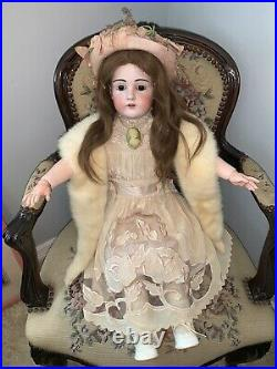 29 German Doll- Kestner DEP 195- 14 bisque head-fur brows- Gorgeous Dress