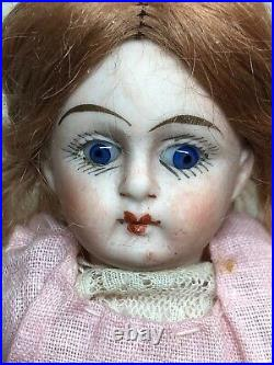 5.5 Antique German All Bisque Swivel Head Marked 2 Jointed Body Redhead #Q