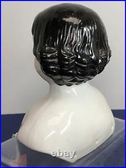 6.5 Antique German Bisque China Head Black Hair Blue Eyes 5.75 Shoulder #Me