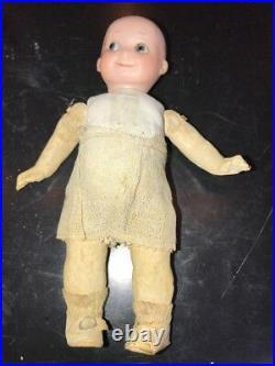 7 Googlie Bisque Head Doll Germany Papier Mache Body Glass Eyes Mohair Wig