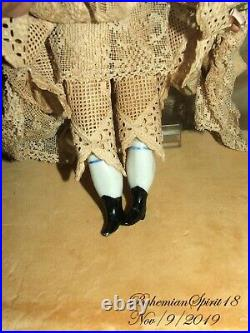 ANTIQUE 1800's Germany CHINA HEAD HANDS LEGS SILK & LACE DRESS 11'' DOLL