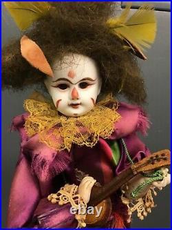 ANTIQUE BISQUE HEAD CLOWN AUTOMATON AUTOMATA playing mandolin