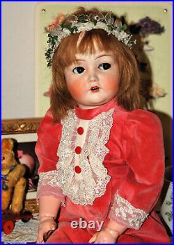 Adorable 22 K&R Simon Halbig 117n flirt eyes bisque head doll from 1915
