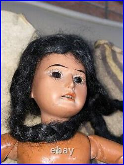 Antique 12 Scowling AM Native American Indian Bisque Head Composition Doll