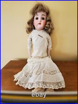 Antique 23 Kestner #154 Bisque Shoulder Head Doll brown Glass Eyes