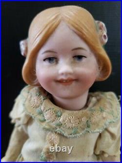 Antique 6 German Bisque Head Heubach Coquette Doll