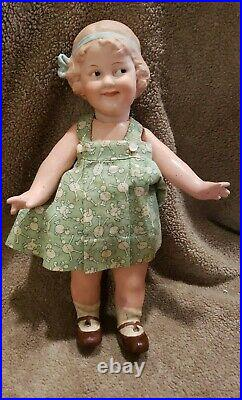Antique 9 1/2 German Bisque Head Heubach Cocquette Doll