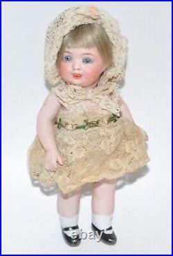 Antique Closed Mouth German Bisque Head Doll Circa 1900 Dollhouse Doll 5.5