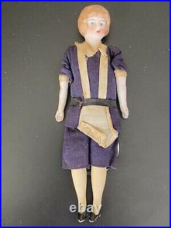 Antique Detailed German Bisque Head Character Dollhouse Doll 61/2