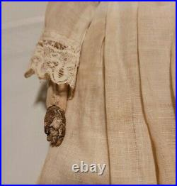 Antique Doll Bisque Parian Alice Head Leather Body Pierced Ears Clothes 12 1/2