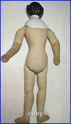 Antique Doll German China Head Cloth Cloth Body 25 Highbrow