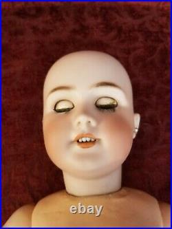 Antique French/German D. E. P. Bisque Socket Head BeBe Doll Blue Sleep Eyes 23