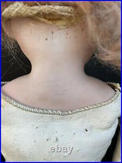 Antique German 13 Kestner 154 Bisque Shoulder Head Doll Leather Body