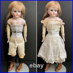 Antique German 13 Unmarked Bisque Turned Head Closed Mouth Fashion Doll
