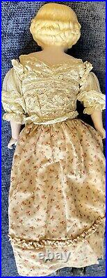 Antique German 18 Closed Mouth Shoulder Head Lady Parian Doll With Glass Eyes