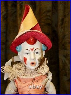 Antique German Bisque Head Clown Doll