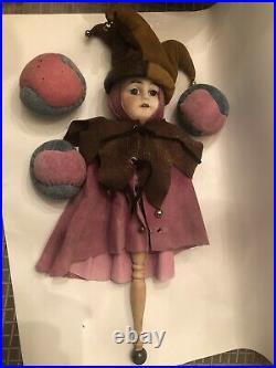 Antique German Bisque Head Heinrich Handwerck Marotte Jester With Three Balls