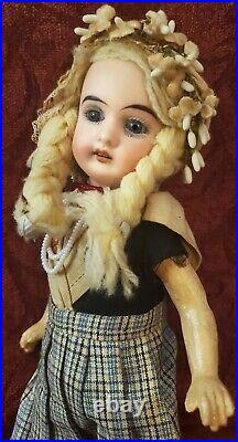 Antique German Gebruder Kuhnlenz Bisque Head Doll 8.5 Blue Glass Eyes Cute