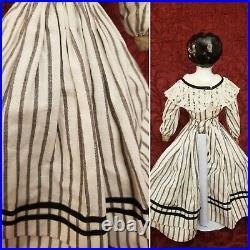 Antique German Hertwig Shoulder China Head Doll 14in Black Hair Blue Eyes CUTE
