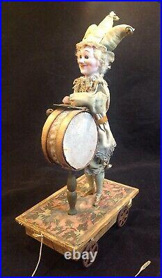 Antique German Mechanical Bisque Head Clown Character Pull Toy