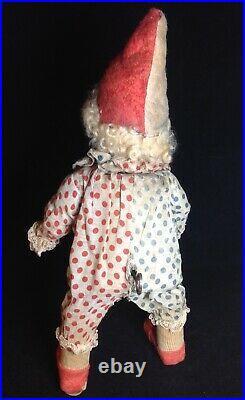 Antique German Mechanical Wind up Bisque Head Clown Walker
