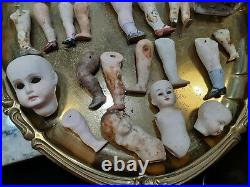 Antique German Porcelain Bisque Doll Baby Head Body Legs Arms Body parts Lot #2