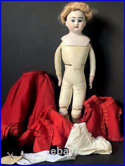 Antique German Recknagel 17 Doll Bisque Head Marked R 41 2 Dept Leather Body