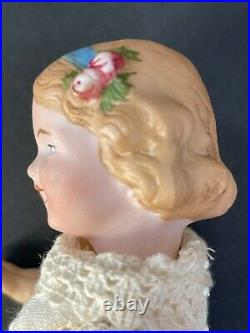 Antique German William Goebel Miniature Bisque Head Doll with Molded Flowers