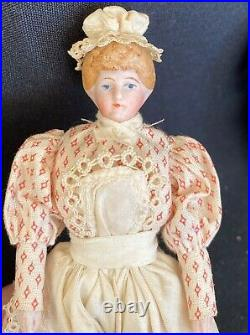 Antique Lot Of 3 Very Detailed German Bisque Head Character Dollhouse Doll