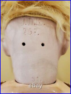 Antique Original J. D. K. Kestner #257 Bisque Head Baby Doll 21in. Wobble tongue