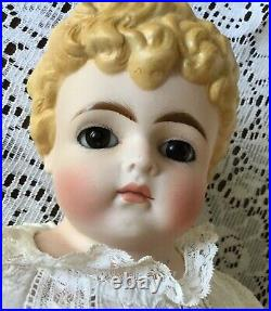 Antique Parian Bisque Turned Shoulder Head Doll Brown Paperweight Eyes Lovely