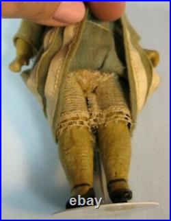 Antique Small German Bisque Head Doll Orig. Wig Dress 6.5 Sweet