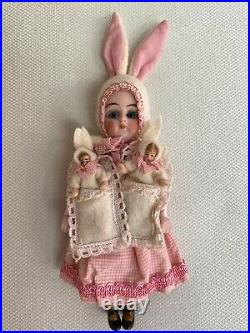 Antique porcelain head doll K & R Bunny mom with 2 Baby