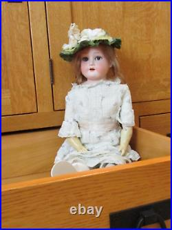 Armand Marseille 370 A. 1. M. Antique German Doll withBisque head Leather body 23