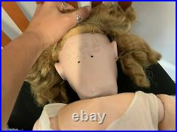 Bisque head Simon & Halbig Doll 31 Blonde Hair Blue Eyes Open Mouth