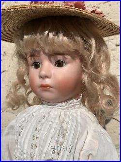 Closed Mouth 7246 Gebruder Heubach Pouty Faced Antique Bisque Head Doll 18.5